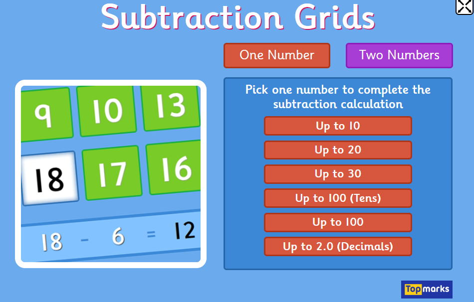 Subtraction Grids